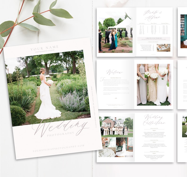 Wedding Photography Magazine Template, 28-Page New Client Studio Welcome  Packet, Photoshop Template, INSTANT DOWNLOAD