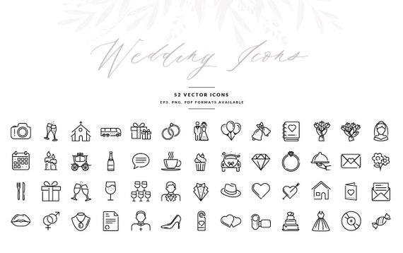Wedding Icons, Wedding Symbols in Vector format, Wedding Invitation  Graphics, EPS, Illustrator Template, INSTANT DOWNLOAD!