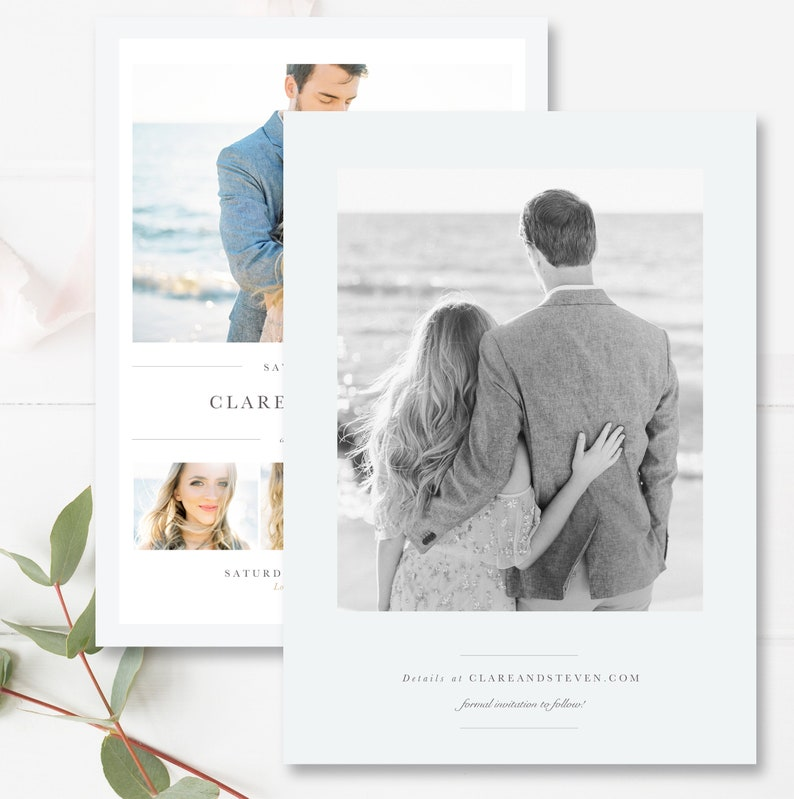 Photoshop Templates for Photographers Matching 4x6 Version Included INSTANT DOWNLOAD! Save the Date Card Engagement Announcement Card