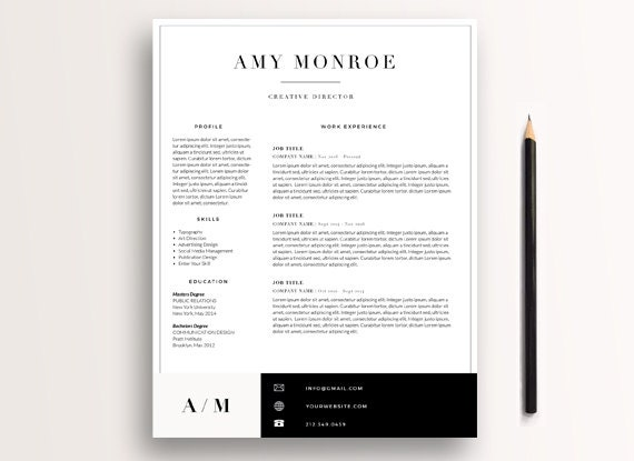 Classic Resume Template 3 page / CV Template + Cover Letter / Instant Download for Photoshop, InDesign, & MS Word