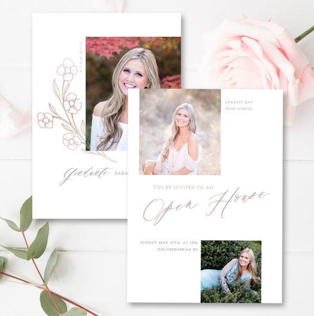 Graduation Announcement Template Flourish Card 5x7 Senior Photoshop INSTANT DOWNLOAD