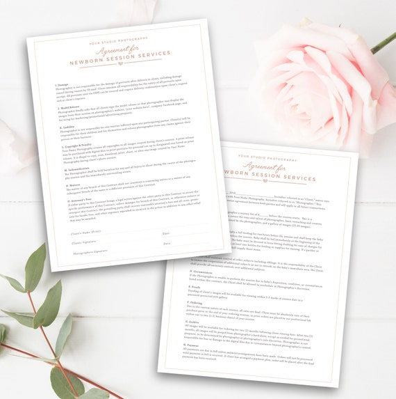Newborn Photography Contract Template Etsy
