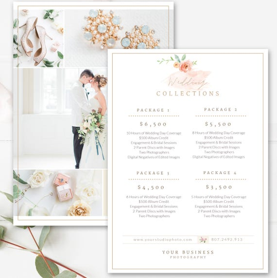 Photography Price List Template Wedding Sheet