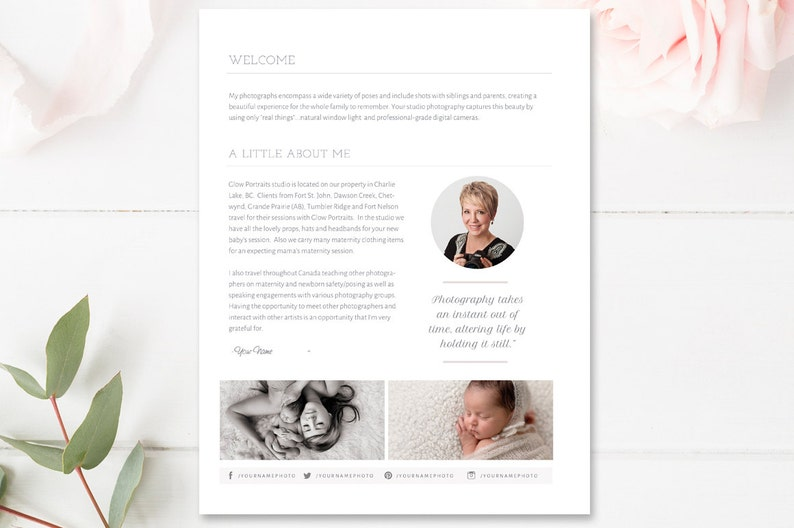 About Me Page Template for Photographers - Photography Templates - Photo  Marketing Templates - 5x7 - INSTANT DOWNLOAD