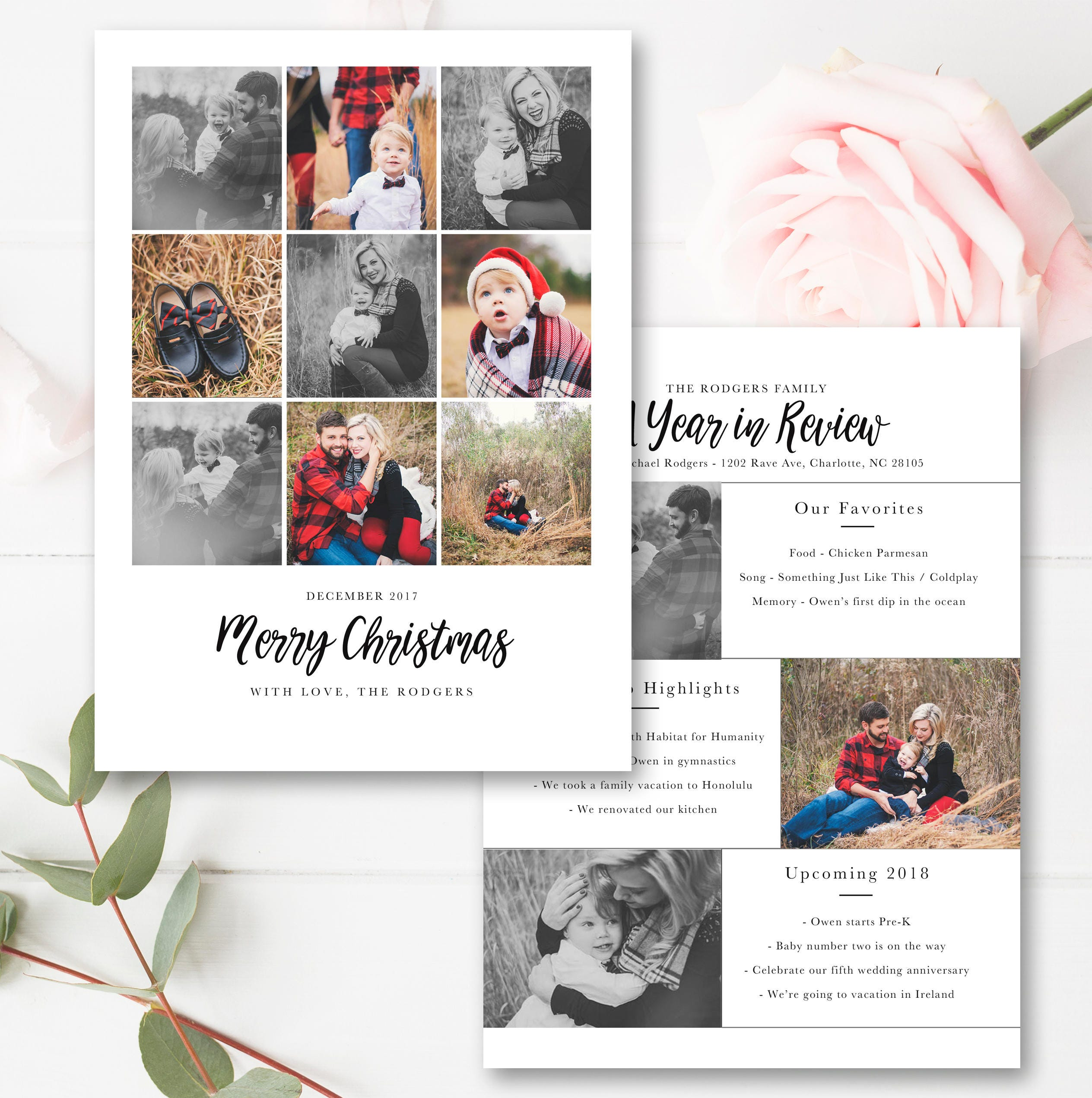 Year In Review Christmas Card Template 21x21 Photo Card FREE  Etsy Pertaining To 4x6 Photo Card Template Free