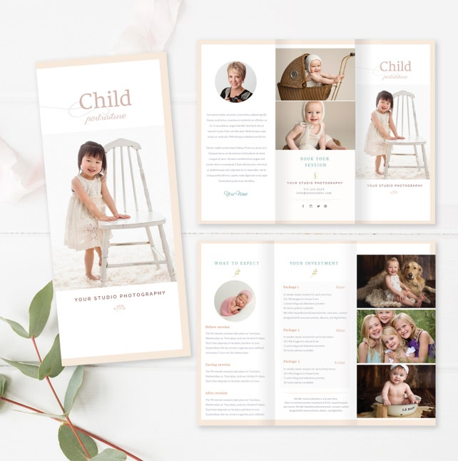 Children Trifold Brochure Flyer Photography Guide Photographer Template Sell Sheet