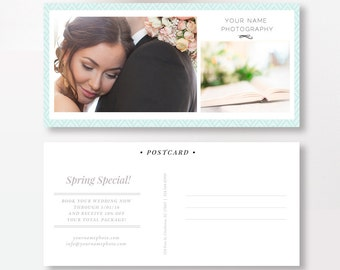 INSTANT DOWNLOAD - Postcard Template for Photographers, Photo Marketing Template, Digital Photoshop Templates