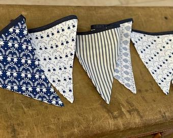 Handmade Scandi Style Traditional Blue & White Folklore Bunting (Random Mix)