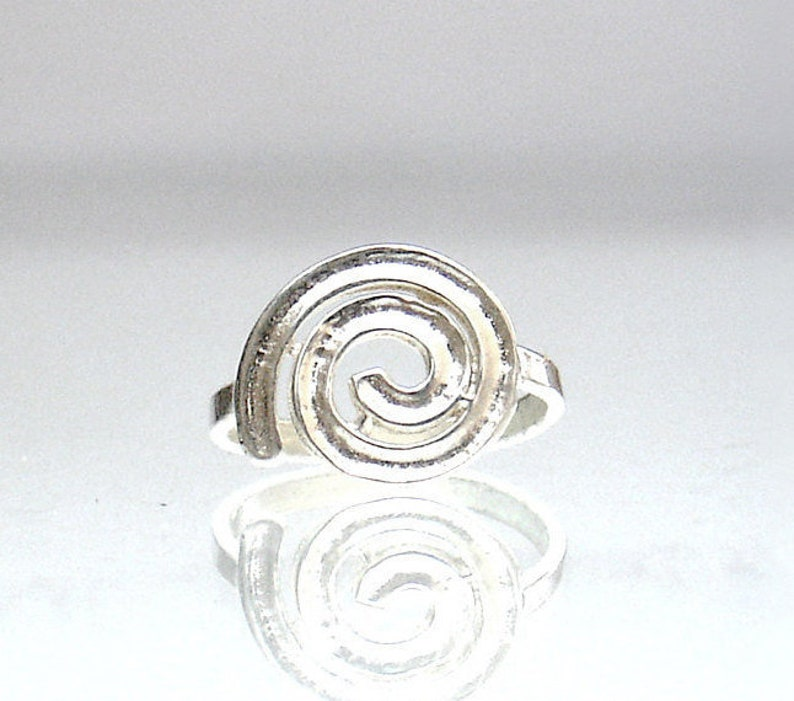 Girls Women Ring Ancient Greek Jewelry Silver Spiral Midi Ring 11mm Round Souvenir From Greece All Sizes Brass Silver Plated