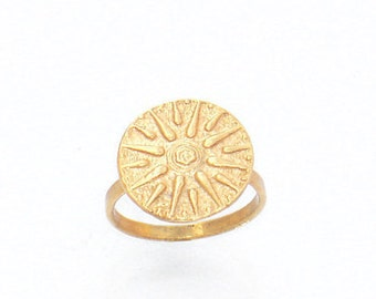 Verginas Sun Ring ,Greek Star Ring , Greek Macedonian Jewelry, Solar Symbol Ring , Ancient Greek Ring , All Sizes Ring , Gold Sun Ring