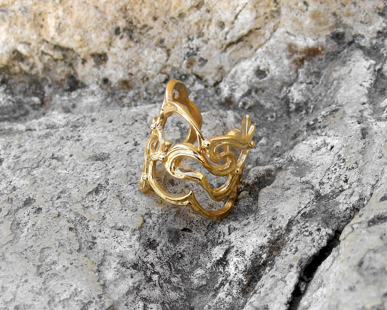 Gift For Her Gold Plated Ring Adjustable Filigree Ring Impressive Gold Ring Adjustable Ring Filigree Jewelry Gold Filigree Ring