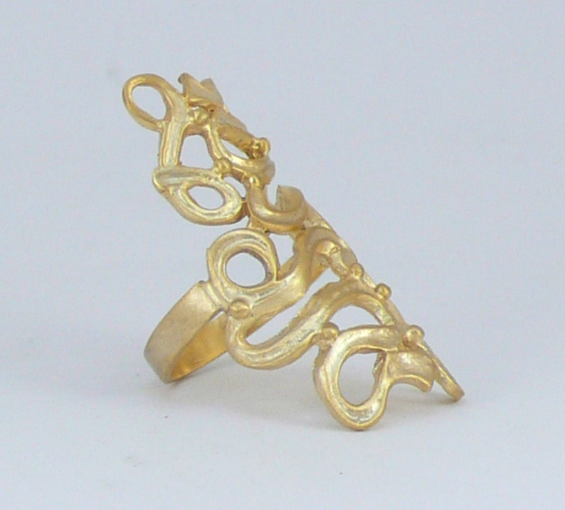 1.57in Long by 0.8in Wide Gold Plated Brass Filigree Women Stylish Gift Satine Long Gold Ring Boho Fashion Elegant Ring For Ladies