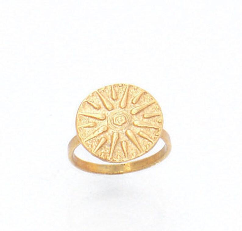 Vergina Sun Ring Gold Star Disk Ring Signet Ring Men Brass image 0