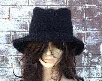 BLACK FELT WOOL Panama Fedora Trilby Hat, Handmade Hat with Wide Brim