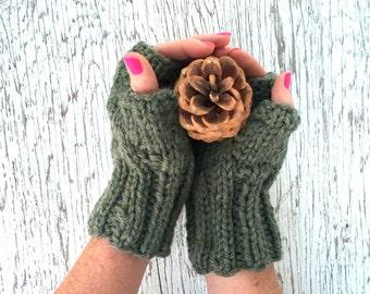 HAND KNIT Wool Blend FINGERLESS Mitts, Fingerless Gloves, Willow Green Mitts,