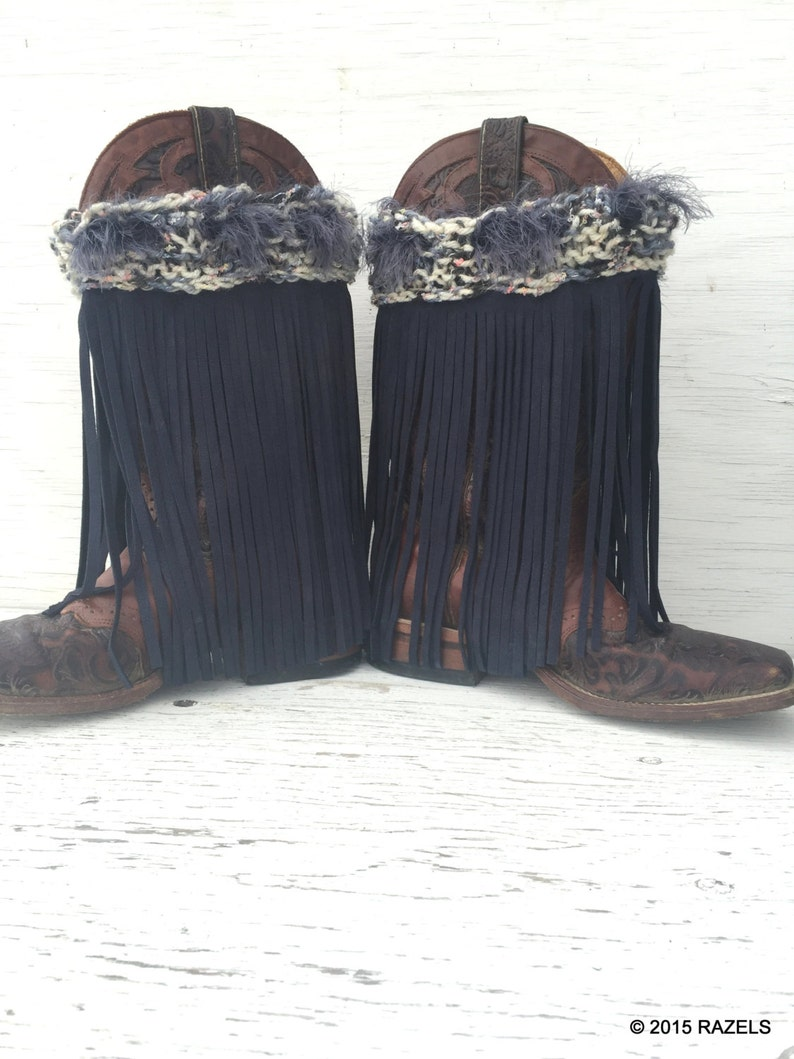 ef313834f4 Cowhide Boot Covers BLUE LEATHER FRINGE Boot Covers Cowgirl | Etsy