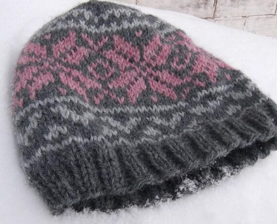 Knitted Norwegian Star Hat Pink Snowflake Beanie NORWEGIAN  5225810af96