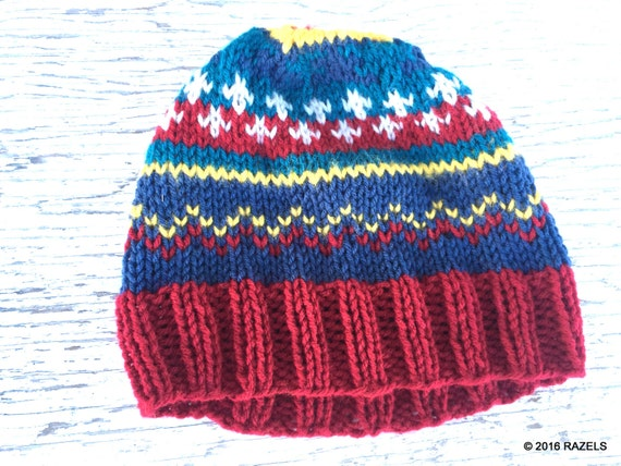 Colorful FAIR ISLE Stocking HAT Beanie Norwegian Scandinavian  96969ee8442