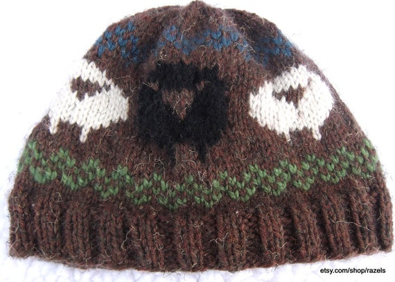 532ee4073b2 Black Sheep Black Sheep Hat Handknit Wool Hat Knitted Wool