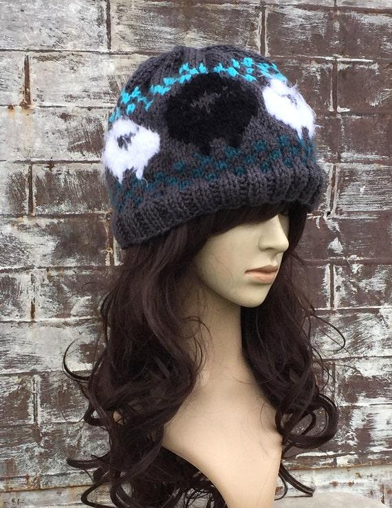 ff8ebebf63a SHEEP HAT BLACK Sheep Fuzzy Sheep Hat Cute Winter Hats