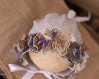 Photography Prop, Newborn  Baby Girl Flower Crown Bonnet