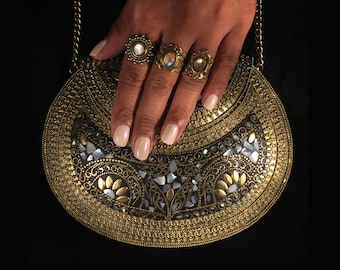 Oria - metal stone bag - ethnic clutch - tribal bag - ornate bag - vintage bag - boho clutch - indian bag - mother of pearl purse
