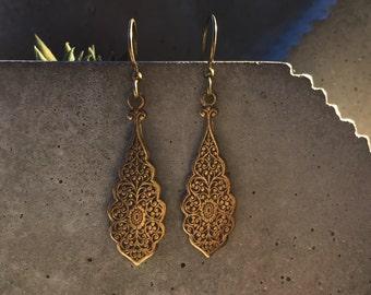 Vintage Ornate Antique Brass Earrings, ethnic earrings, tribal earrings, antique earrings, vintage earrings, indian earrings, boho earrings