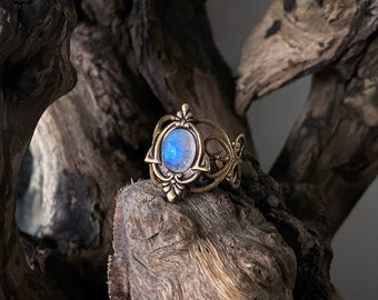 Aria - Rainbow Moonstone ring, antique moonstone ring, moonstone ring, ethnic ring, victorian ring, boho ring, brass moonstone ring, vintage