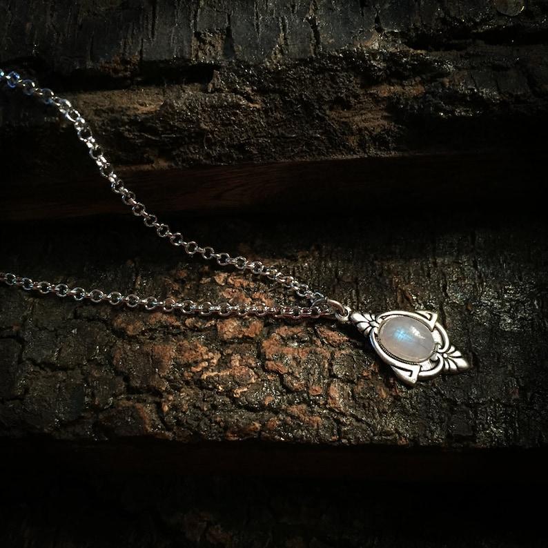 Aria  Antique Silver Moonstone choker  Silver Rainbow image 0