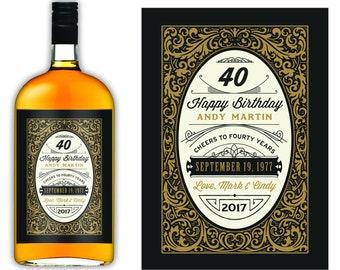 Male Birthday Gift - Custom Whiskey Label - 40th birthday -Birthday Whiskey Labels -Dirty 30 Thirty -21st Birthday -Milestone Birthday Decor