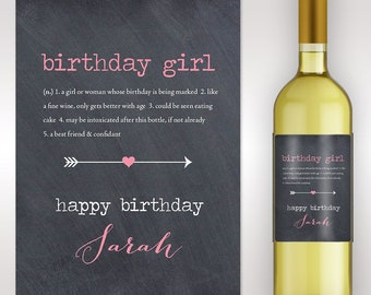 Birthday Wine Label - Custom Wine Label - Personalized Wine Label - Birthday Girl Wine Bottle Label - Birthday Gift - Milestone Birthday