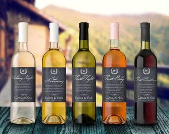 Wedding Milestones Wine Label - Custom Wine Label - Personalized Wine Label - Wedding Wine Bottle Label