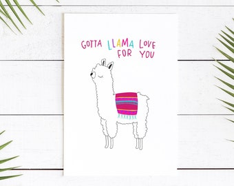 Love Greeting Card || Llama