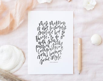 Hand Lettered Print | My Mission