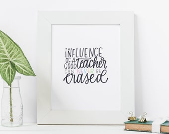 Hand Lettered Print | The Influence of a Teacher