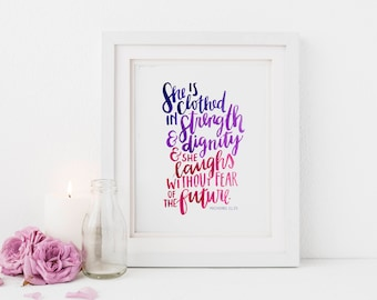 "Hand Lettered Print | ""Clothed in Strength & Dignity"" 