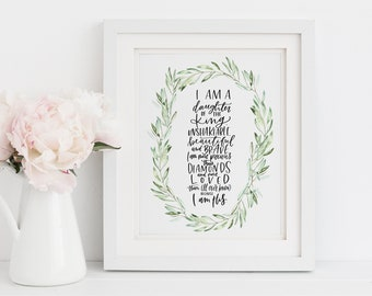 Daughter of the King || 11x14 Hand Lettered Print