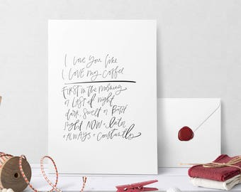Hand Lettered Print | Love You Like Coffee