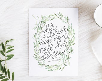 Hand Lettered Print | Proverbs 31:28