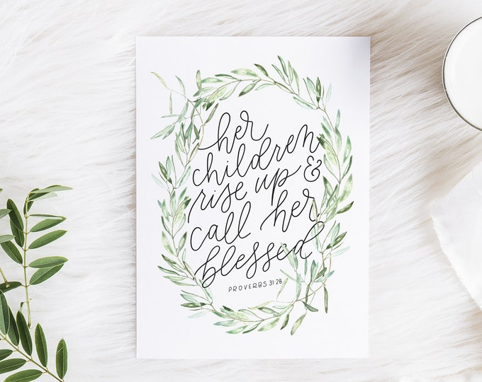 Featured listing image: Hand Lettered Print | Proverbs 31:28