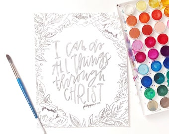Hand Lettered Print | Color Me Print | Phil. 4:13