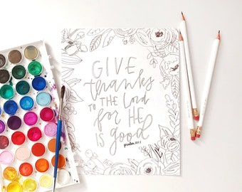 Hand Lettered Print | Color Me Print | Give Thanks
