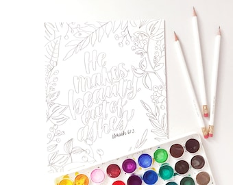 Hand Lettered Print | Color Me Print | Beauty out of Ashes