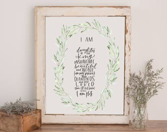 Daughter of the King || 11x14 CUSTOM Hand Lettered Print