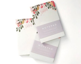 Hand Lettered Notepad || Floral Notes