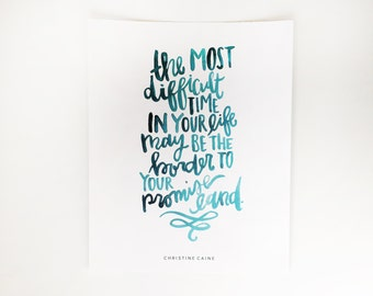 Hand Lettered Print | Promise land