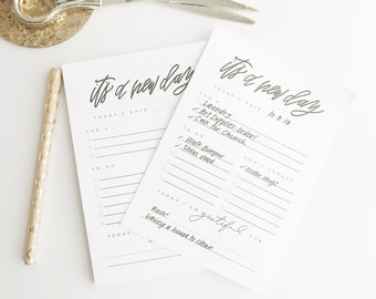 Hand Lettered Notepad || New Day