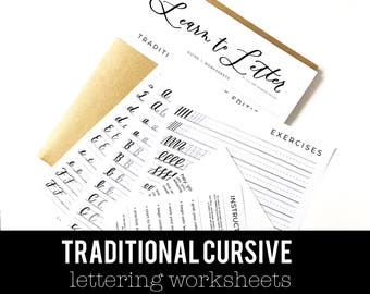 TRADITIONAL CURSIVE || Hand Lettering Worksheet Set