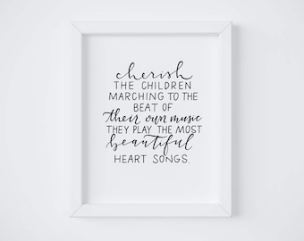 Cherish the Children || Hand lettered print