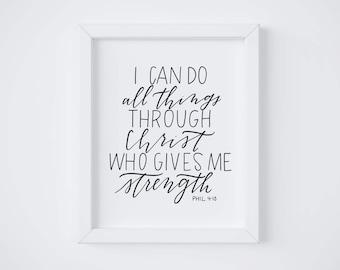 Philippians 4:13 || Hand lettered print